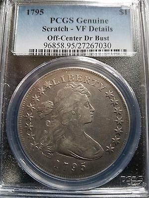 1795 Draped Bust Dollar, Pcgs Vf Details, B-14,bb51, Rarity-2, Off Center Bust
