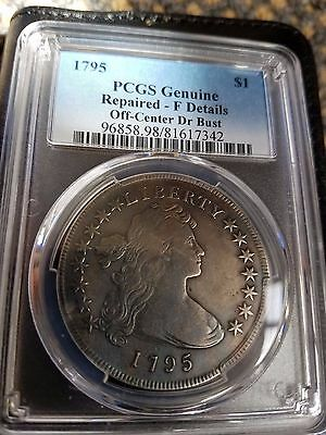 1795 Draped Bust Dollar, Pcgs Graded Fine Details,  Off-Centered Draped Bust