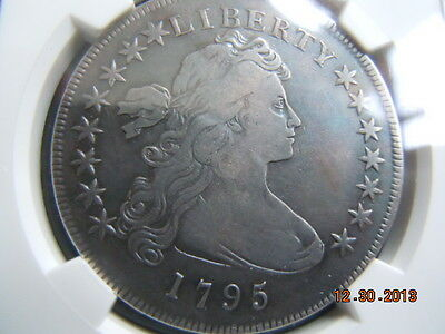 1795 Draped Bust Dollar, Ngc Vf Details, Off Center Bust,original Charcoal Hues
