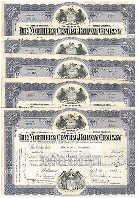 Lot of 9 Maryland stock certificates > The Northern Central Railway Company