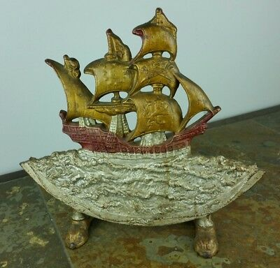Antique Vintage Rare Cast Iron Door Stop Pirate Ship Rough Seas Ocean Nautical