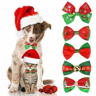 Christmas Dog Cat Pet Puppy Bow knot Necktie Collar Bow Tie Clothes Cute Cosplay