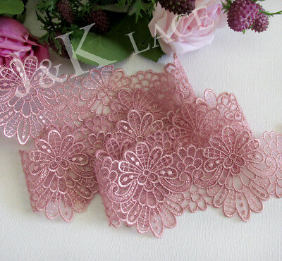 6 cm width Pretty Old Rose Embroidery mesh Lace Trim
