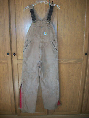 Carhartt Bib Overalls Insulated 100% Cotton Duck Brown Youth XL USA Made NICE