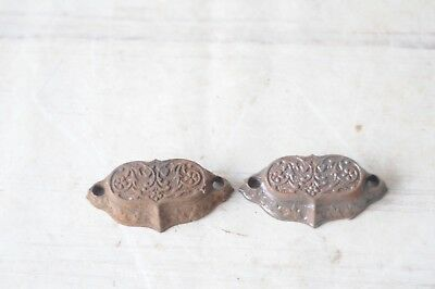 2 Antique Ornate Cast Iron Drawer Pulls Printer Cabinet Hardware Handles
