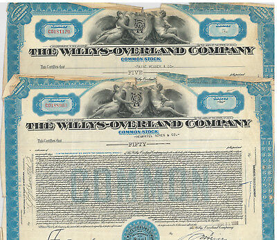 The Willys-Overland Company > 1933 Ohio Jeep stock certificates
