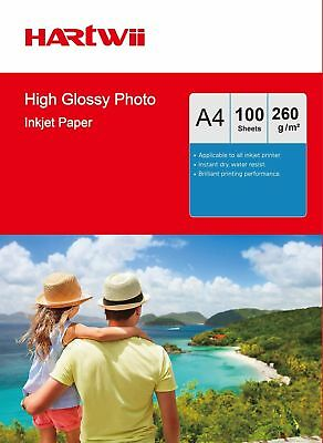 100-1000 Sheets A4 260 Gsm High Glossy Photo Paper Inkjet Paper Printer Hartwii