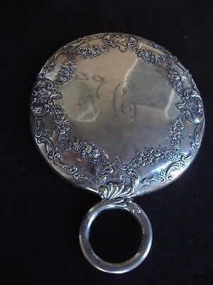 Antique Sterling Silver Beveled Hand Mirror Victorian Chased Repousse Old