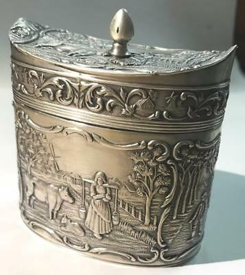 Dutch .833 Silver Antique Tea Caddy from 1927 - Great Pastoral design