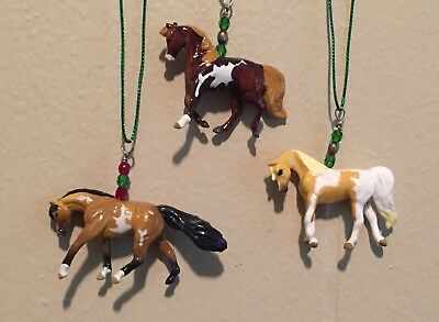 OOAK Set of 3 Breyer Mini Whinnies Paint Horse Holiday Christmas Ornaments
