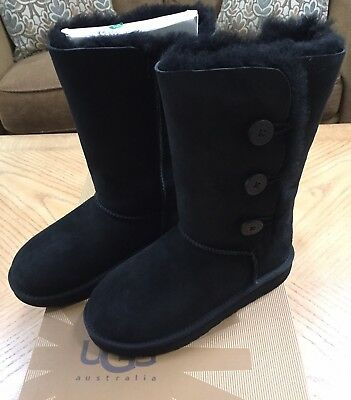6c74dfedb ... reduced new nib ugg australia girls kids youth bailey button triplet  boots black size 4 aa803
