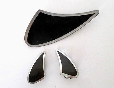 JORGEN JENSEN MODERNIST DESIGN Pewter Enamel BROOCH and EARRINGS SET~ Denmark