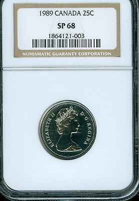 1989 Canada 25 Cents Ngc Sp 68..