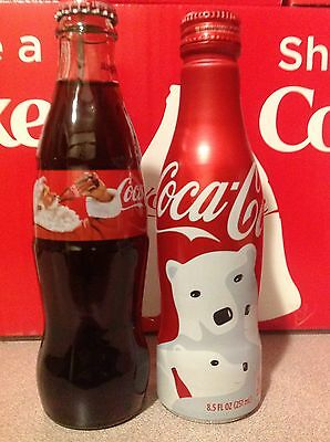2016 Christmas Polar Bear & Santa USA Coca-Cola Aluminum & Glass Coke Bottle