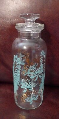 Vintage Turquoise & Gold Atomic Mid Century Apothecary Federal Glass (?) Jar