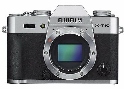 "Fujifilm X Series X-T10 16.3MP Mirrorless Digital Camera Silver Body Only 3"" LCD"