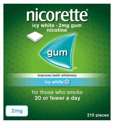 NICORETTE 2mg NICOTINE GUM - 210 PIECES - ICY WHITE NEW PACKAGING
