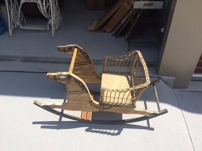 Vintage RARE Child's Rocking Horse Wicker Seat Turn of Century Early Toy