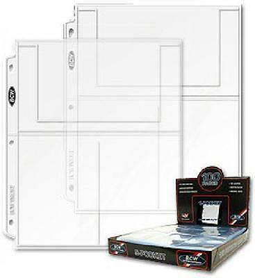 """Bcw Pro 3-Pocket Postcard Protective Page Box 4"""" X 6"""" Pack Of 100"""