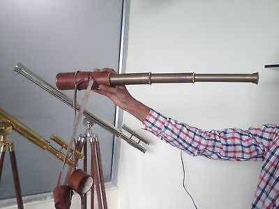 US Navy Marine Vintage Brass Telescope Which Is Covered With Excellent Leather.