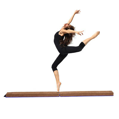 8FT Folding Balance Beam Suede Gymnastics Training Fitness Gym Equipment Tool