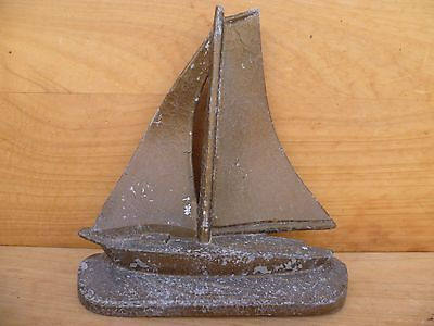 Old Early Yacht, Sailing Boat Spelter Ornament, Figure (C845)