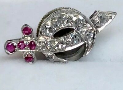 Antique Genuine Diamond & Ruby Masonic Shriners  Lapel Pin Solid Platinum