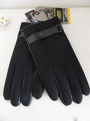 BNWT Barbour International Thinsulate Black Leather Wool Gloves  size L