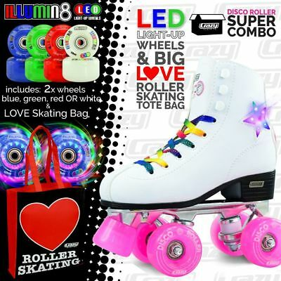 DISCO Roller Skates with 2 Bright LED Light up Wheels and LOVE Roller SK8 Bag!!!
