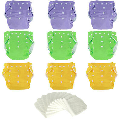 9*Multi-Color+10*Inserts Reusable Modern Baby Cloth Nappies Diapers Adjustable