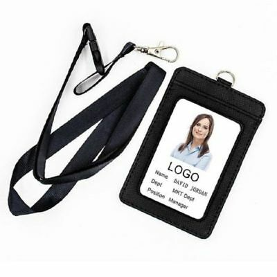 Badge Holder 2-Sided Vertical Faux Leather ID Badge Case Detachable Neck Strap