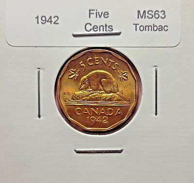Canada 1942 Tombac Five Cents MS63 - Trend $20.00.