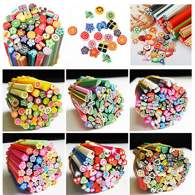 Hot 50pcs Nail Art Decals Mixed Styles Fimo Cane Polymer Clay Rods Stickers DIY