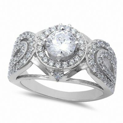Antique Style Halo Engagement Ring Round CZ 925 Sterling Silver Choose Color