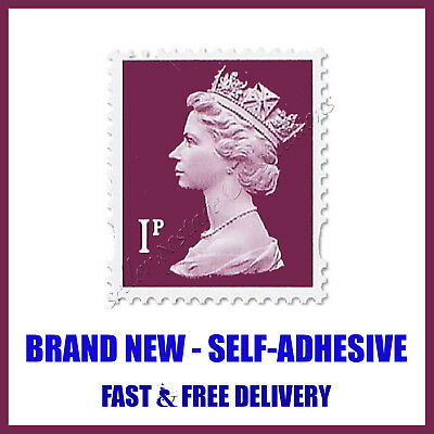 Royal Mail Postage Stamps 25 x 1p Stamp Sheet BRAND NEW Purple Self Adhesive UK
