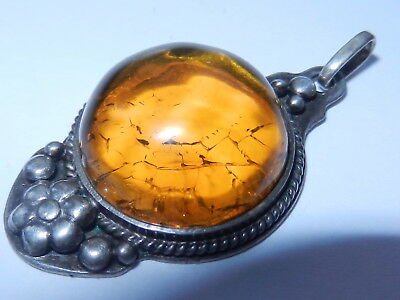 Rare Antique Natural Genuine baltic amber BUTTERSCOTCH EGG YOLK pendant silver