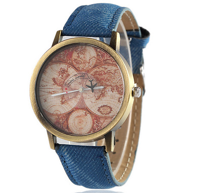 Old-Style World Map Watch with Blue Band Antique Style Wristwatch,WMBL