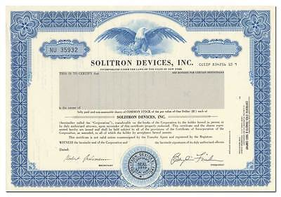 Solitron Devices, Inc. Stock Certificate - Lunar Rover Vehicle Power Drive