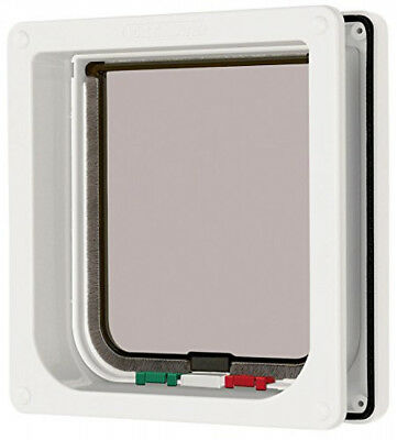 Cat Mate 4 Way Locking Cat Flap with Door Liner to 50mm Pet Supplies White New
