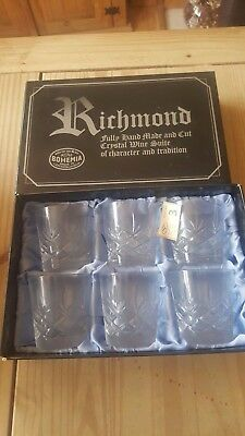 superb quality boxed hand made and cut 24% Lead Crystal whiskey Glasses set of 6