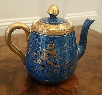CROWN STAFFORDSHIRE CHINOISERIE SMALL TEAPOT JUG BLUE AND GOLD c1930