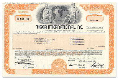 Tiger International, Inc. Stock Certificate (Flying Tigers, Federal Express)