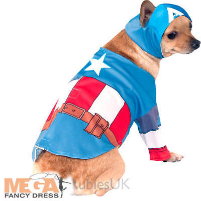 Captain America Pet Dog Fancy Dress Superhero Comic Halloween Animal Costume New