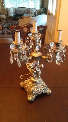 Victorian style antique Silver Plate Candelabra Table Lamp