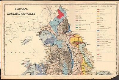 1890 Ca ANTIQUE MAP - GEOLOGICAL MAP OF ENGLAND AND WALES, 2 SHEETS