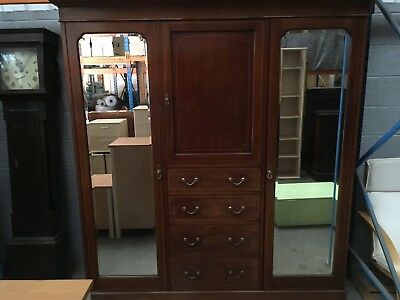 Antique Wardrobe With Mirrored Doors. Mahogany. Excellent Condition.