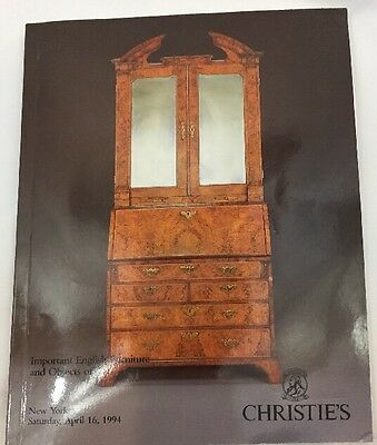 Christies NY Important English FURNITURE Objects of ART Catalog April 16 1994