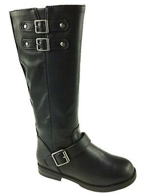 Girls Stride Rite Soft Faux Leather Flat Mid Calf Biker Boots Buckle Detail