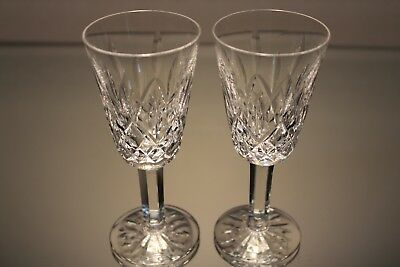 """Two (2) Waterford Crystal Lismore Sherry Wine 5 1/8"""" Stem Goblet Glass Mint"""