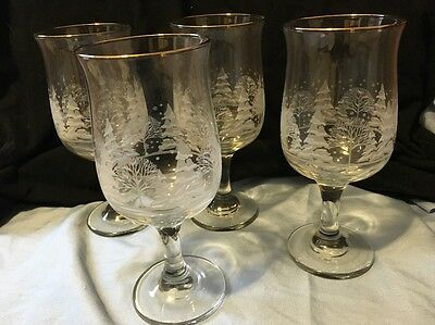 4 Arby Snow Scene Glasses Libbey